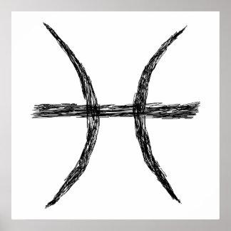 Peixes. Sinal da astrologia do zodíaco. Preto Poster