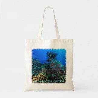 Peixes tropicais do mar coral sacola tote budget