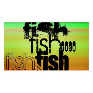 Peixes; Verde, alaranjado vibrantes, & amarelo Cartão De Visita