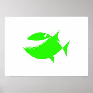 Peixes verdes dos desenhos animados posters