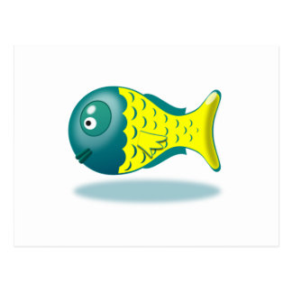 Peixes verdes e amarelos dos desenhos animados cartões postais