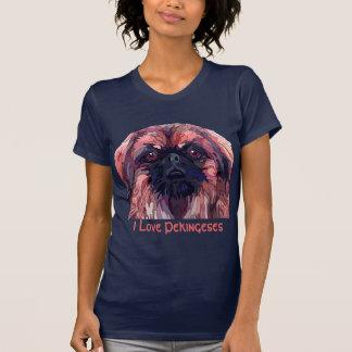Pekingese no t-shirt da mulher brilhante das cores