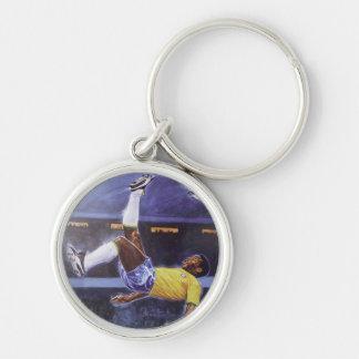 Pele - anel chave de jogador de futebol chaveiro redondo na cor prata