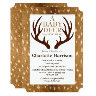Pele da jovem corça dos cervos do bebê & chá de convite 12.7 x 17.78cm