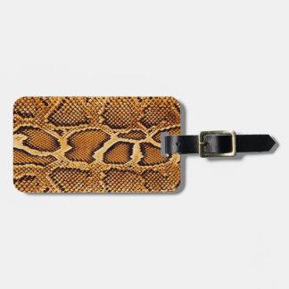 Pele de cobra na moda etiqueta de bagagem
