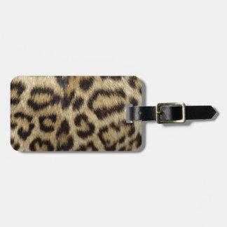 Pele manchada do leopardo etiqueta de bagagem