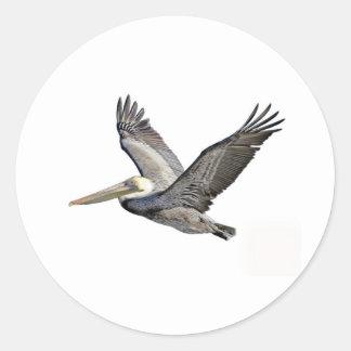 Pelicano claro adesivos em formato redondos