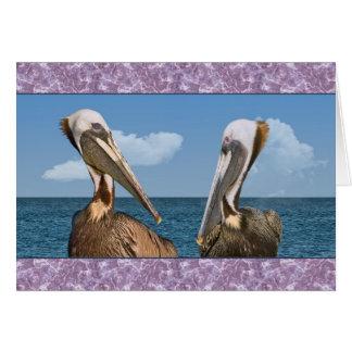 Pelicano de dois Brown no cartão multifacetado do