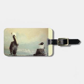 Pelicano & gaivota de Brown Etiqueta Para Mala De Viagem