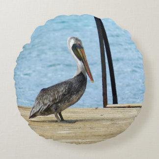 Pelicano no cais, Curaçau, ilhas das Caraíbas Almofada Redonda