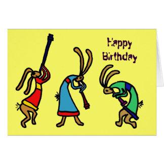 Pelo cartão engraçado do coelho da dança do