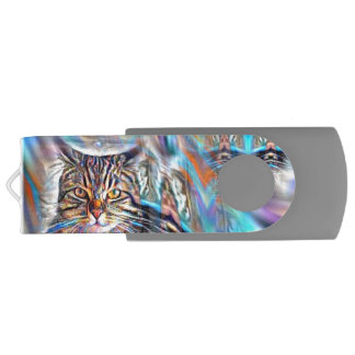 Pen Drive À deriva no gato tropical do por do sol das cores