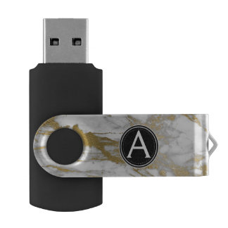 Pen Drive Branco e movimentação de mármore do polegar de USB