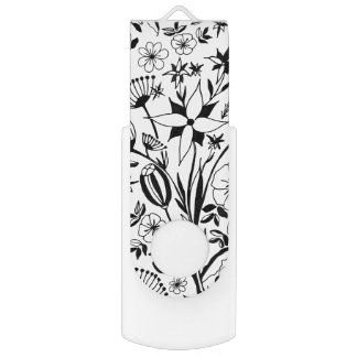 Pen Drive Buquê floral preto e branco