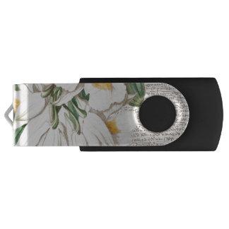 Pen Drive Caligrafia branca das orquídeas