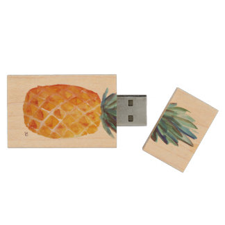 Pen Drive De Madeira Abacaxi USB