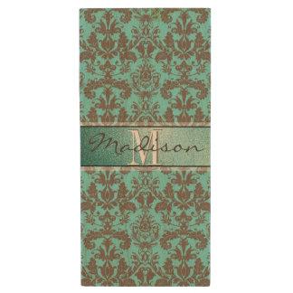 Pen Drive De Madeira Azul de turquesa da cerceta & damasco de Brown,
