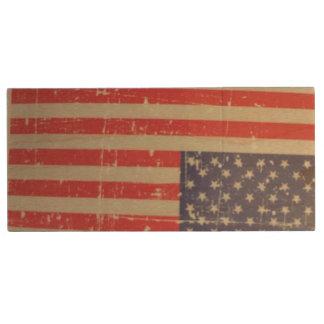 Pen Drive De Madeira Bandeira americana resistida, afligida dos EUA