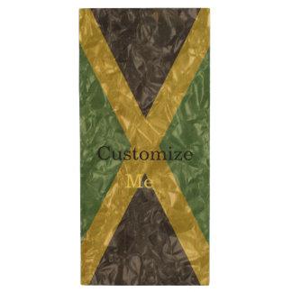 Pen Drive De Madeira Bandeira jamaicana - enrugada