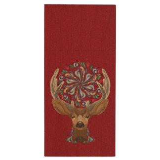 Pen Drive De Madeira Cervos bonitos mágicos da floresta com símbolo do