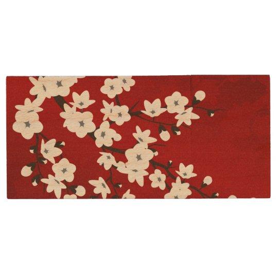 Pen Drive De Madeira Flores de cerejeira preto e branco vermelhas