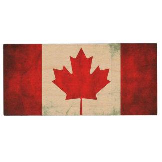 Pen Drive De Madeira Grunge canadense da bandeira