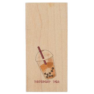 Pen Drive De Madeira Ilustração da chalaça do chá de Tapiocat