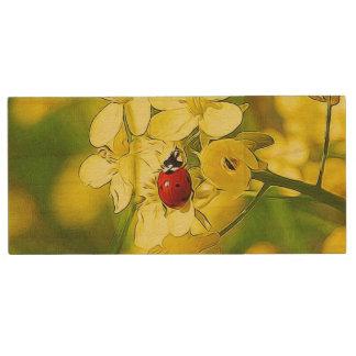 Pen Drive De Madeira Joaninha amarelo do vermelho da boa sorte da flor