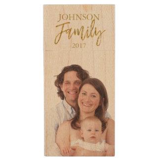 Pen Drive De Madeira Movimentação de USB dos retratos da família para