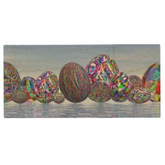 Pen Drive De Madeira Ovos coloridos para a páscoa - 3D rendem