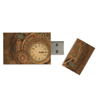 Pen Drive De Madeira Steampunk, maquinismo de relojoaria maravilhoso