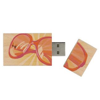 Pen Drive De Madeira Sunburst & Eyeglasses cor-de-rosa alaranjados -