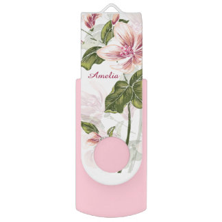 Pen Drive Floral feminino cor-de-rosa elegante personalizado