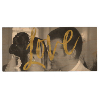 Pen Drive Fotos USB do casamento da tipografia do ouro do