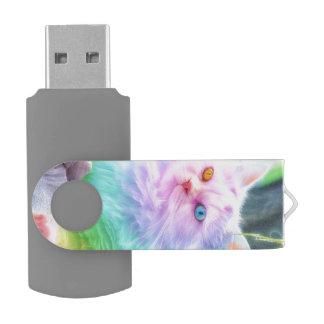 Pen Drive Gato do arco-íris do unicórnio