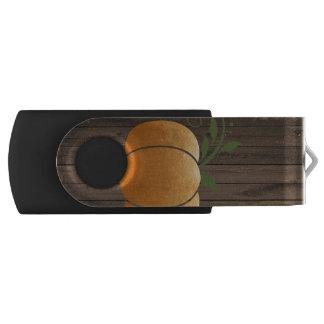 Pen Drive Giratório Abóbora de madeira rústica do outono do ouro