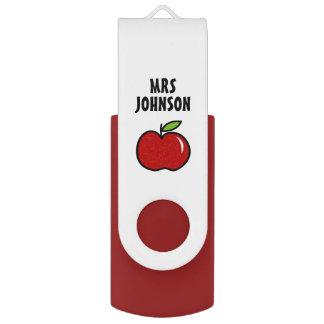 Pen Drive Giratório Assistente vermelho personalizado do professor da