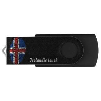 Pen Drive Giratório Bandeira islandêsa da impressão digital do toque