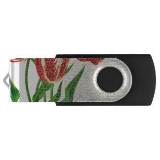 Pen Drive Giratório Caligrafia vermelha das tulipas