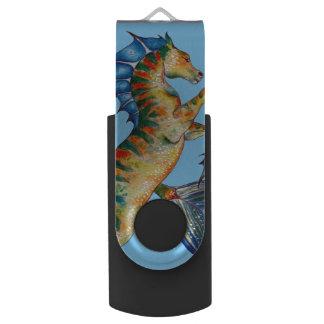 Pen Drive Giratório Cavalo marinho no azul
