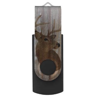 Pen Drive Giratório Cervos primitivos ocidentais da madeira do celeiro