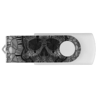Pen Drive Giratório Crânio de vidro do mosaico, branco preto