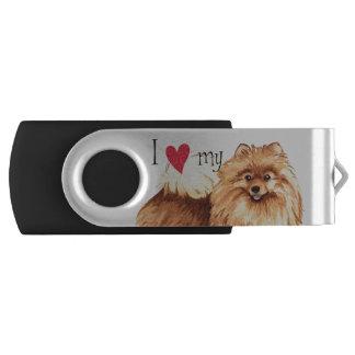 Pen Drive Giratório Eu amo meu Pomeranian