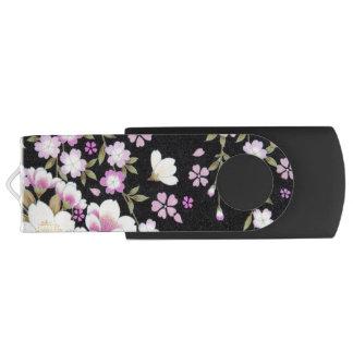 Pen Drive Giratório Falln que conecta flores cor-de-rosa