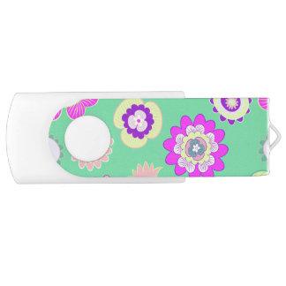 Pen Drive Giratório Floral Minty, USB, 8 GB, branco