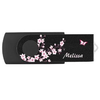 Pen Drive Giratório Flores de cerejeira do monograma da borboleta