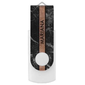 Pen Drive Giratório Listra de mármore preta do brilho do Rosa-ouro de