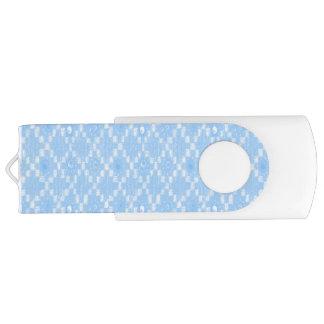 Pen Drive Giratório Luz - impressão azul do teste padrão do diamante