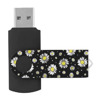 Pen Drive Giratório Margaridas - movimentação preta do flash de USB