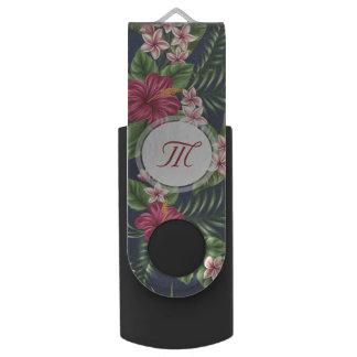 Pen Drive Giratório Monograma personalizado USB da flor do hibiscus